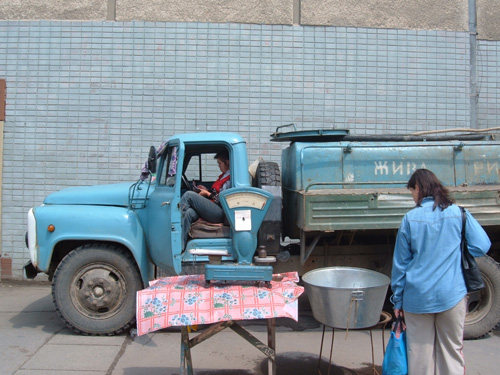 Vis te koop op de markt in Beregszáz (Beregovo - Oekraïne)